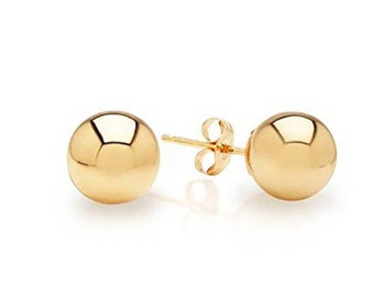 14K Pure Solid YELLOW Gold Ball PUSH BACKS Studs. 2mm ball stud. 2.5mm 3mm 4mm 5mm 6mm 8mm 9mm 10mm 12mm.  bridesmaid gifts.