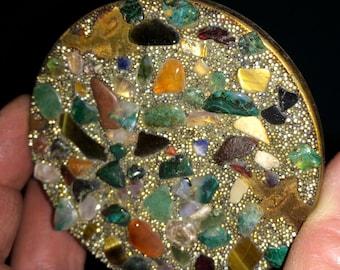 Antique Compact,Metal Compact,Mosaic Compact,Stone Compact,Vintage Compact,Boho Compact,Pocket Mirror,Natural Compact,Retro Compact