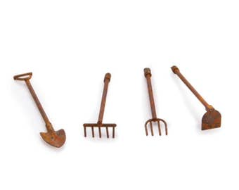 Fairy Garden Tools, Miniature Hoe, Rake, Pitchfork, Shovel For Fairy Gardens ,