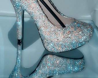 Customized Sparkly Wedding Shoes Bling Diamond Crystal Wedding Formal High Heel And Strass Heel