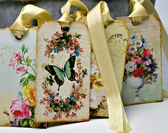 Vintage Butterfly and Rose Tags / Spring Rose tags / Set of 6 Butterflies and Roses Tags / Botanical Gift Wrap / 6 Spring Tags
