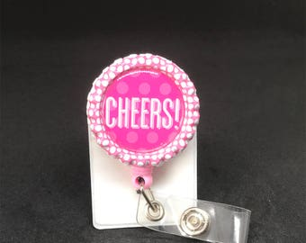 Pink Polka Dot Bottle Cap Cheers Badge Reel