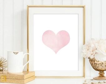 Heart Pink Nursery print wall art, Pink watercolor heart, Heart Pink white and gold Nursery decor wall art,5x7, 8X10, 11x14 Art print