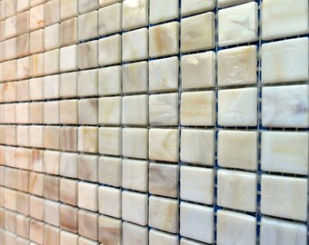 """ON SALE 15mm (3/5"""") Cream and Tan Opaque Glass Mosaic Tiles// Off White and Beige Tiles//Ivory Mosaic Tiles//Mosaic Supplies"""