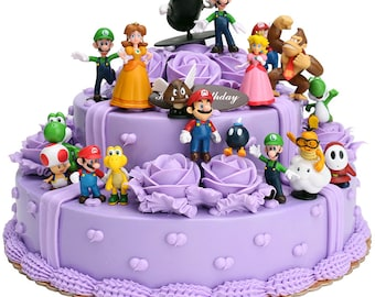 "Mario Bros /& Friends Set Of 12  1/"" 2-1//2/"" Birthday Cake Topper Figurines Set"