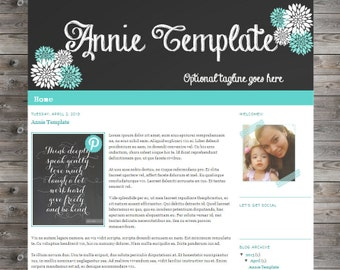 Premade Blogger Template -Annie Chalkboard- Installation, Pin it button and signature Included