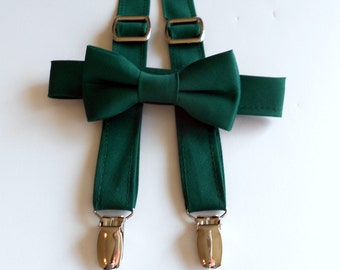 Hunter Green Bowtie and Suspenders Set - Infant, Toddler, Boy - Forest, Emerald-  2 weeks before shipping
