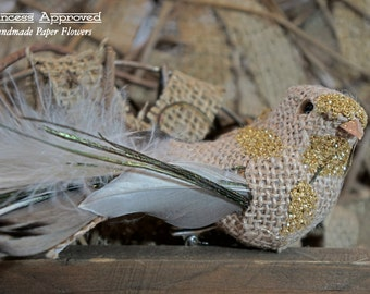 Burlap Bird with clip