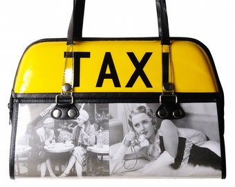 Taxi top light handbag - FREE SHIPPING, Upcycled Handbags, Women's women woman bag bags tote totes yellow retro vintage lovers lover purse