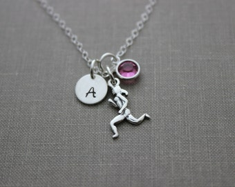 Runner Girl Sterling Silver Charm Necklace, Swarovski Crystal Birthstone, Hand Stamped Initial Charm, Run Necklace