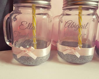 Mason jars for flower girls/page boys and you bridesmaids.