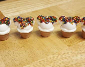 Polymer Clay Vanilla Ice Cream Cone Keychains Mickey Mouse