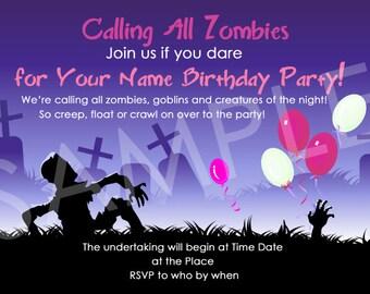 Zombie Party invite