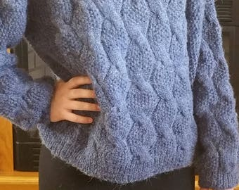 Women's Cable and Seed Stitch Turtleneck Sweater - Size M-L