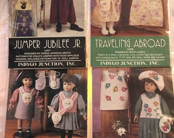"""Four Indygo Junction Doll Clothes Patterns:  Jumper Jubilee, Traveling Abroad, Bunny Hop and Dainty Daisies for 17-19"""" Dolls"""