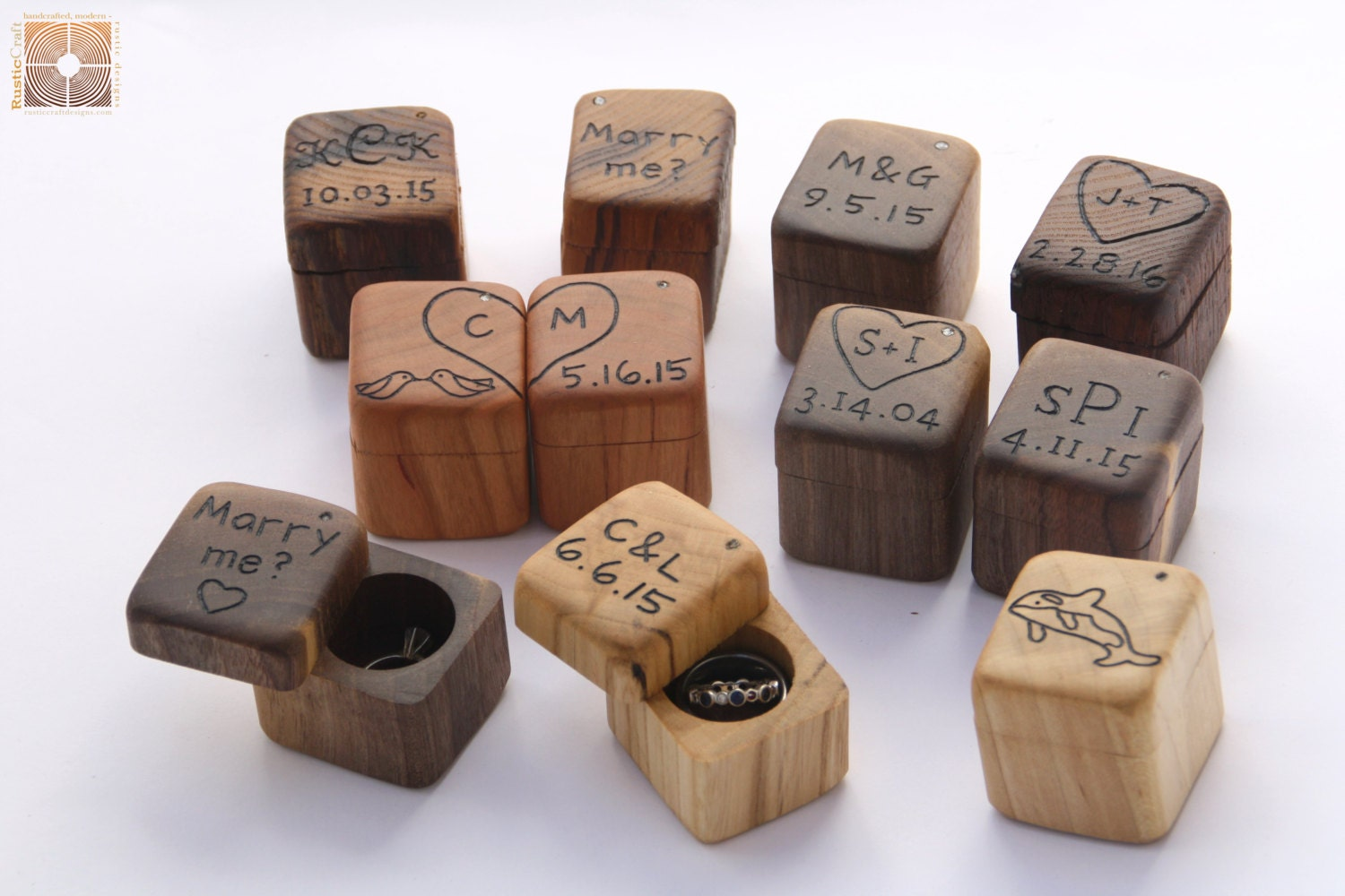 Wedding Ring Box Engagement Ring Box Rustic Wood Mini Ring
