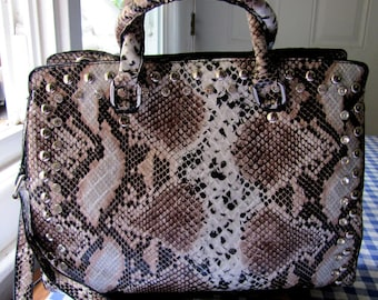 Faux snake skin hand bag with rhinestones