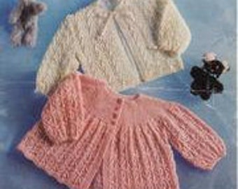 "PDF Knitting Pattern, 3 / 4 Ply, Sz 18 - 19"" 2 Baby Matinee Coat Jacket Cardigan"