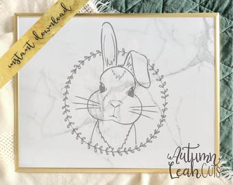Hand Drawn Bunny Svg -- SVG, PNG, Jpeg, DXF cut file for Silhouette, Cricut -- Instant Download Clipart - Easter Clipart - Printable Art