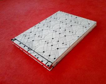 Japanese Binding Notebook or Sketchbook, Waves Japanese design
