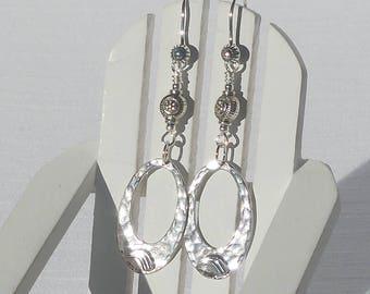 Sterling silver oval drop earrings