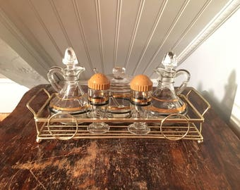 1940s Vintage 1950s Mid-Century Retro Glass Condiment Set Steel Caddy Black And Gold Design Oil & Vinegar Cruets Salt And Pepper Relish Jar