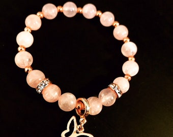 Rose Quartz & Rose Gold 8mm beaded bracelet with Rose Gold butterfly charm