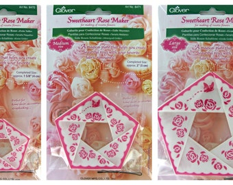 Sweetheart Rose Maker,Three Sweetheart Rose Rosette,Three Flower Maker Templates,Reusable All 3 Sizes Included: Small, Medium, Large, Clover