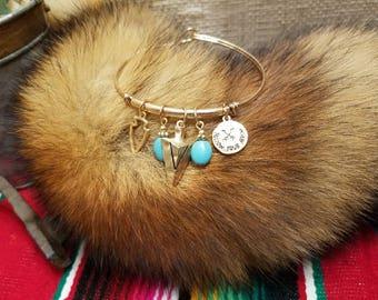 Gold tone Turquoise Bangle | Turquoise Bracelet | Arrowhead Bangle
