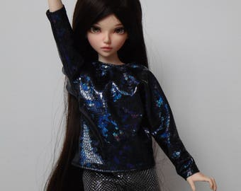 Holograaphic holo batwing blouse for minifee and similar slim msd dolls