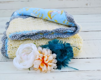Sleepy bunny, baby afghan, crochet baby blanket, baby shower gift, nursery blanket, reversible crochet blanket, crochet afghan, crib blanket