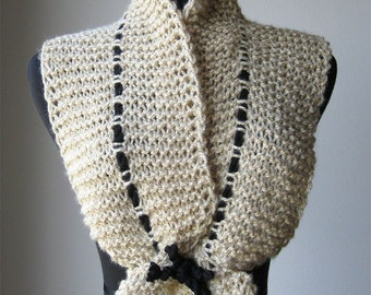 MADE TO ORDER -  Beige Cream Color Knitted Scarf Ruffled Collar Scarflette with Black Cord