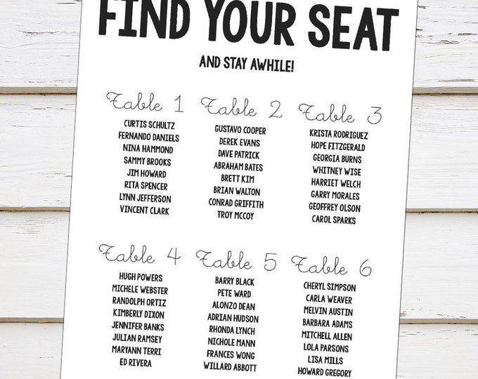 plain table chart. Printable Personalized Seating Chart, Simple, Plain, Black And White, Find Your Seat Plain Table Chart E