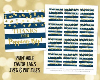 Printable Thank You for Popping By Favor Tags Navy Blue Stripes Gold Confetti for Baby Shower Popcorn Birthday Instant Digital Download