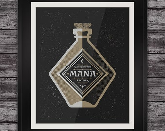 Mana Potion - Magic Bottle - Videogame Inspired - 11x14 Inches - Open Edition - Signed - Handmade Screenprint Poster Art