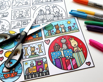 Loving cats and dogs coloring and cutting for girl or boy child activity, DIY