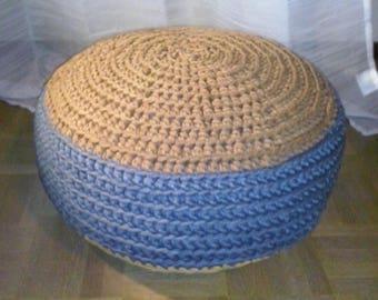 Ottoman, tri-color jersey floor cushion