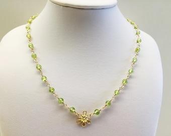 Beaded Peridot Yellow Gold Necklace