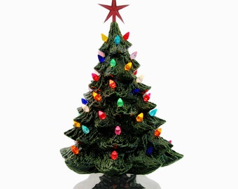 Dear Santa Ceramic Christmas Tree in Green 18 Inch Tall Multi Color Lights Detail Holly Base Topped With a Modern Star - Made to Order
