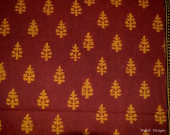 Top quality Maroon Bagh Print cotton fabric Pre washed Block print hand stamped cotton fabric wholesale supply by the yard
