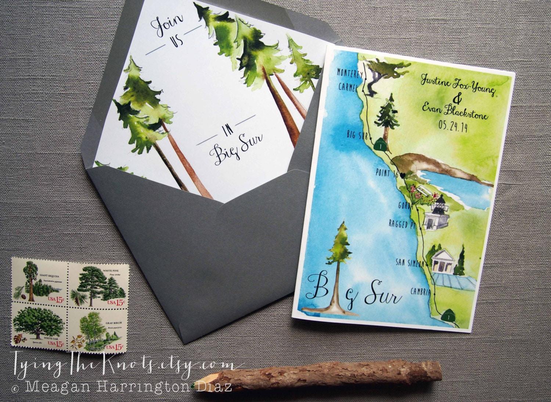 How Big Are Wedding Invitations: Big Sur Invitations Custom Wedding Program 4 Page Wedding