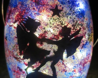 Dancing Fairies Silhouette Lantern/Hand Painted Lantern/Glass Lantern/Silhouette Lantern/Lantern Home Decor/Light Decor/Night Light