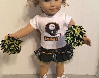 American Made 18 inch doll Clothes - Steelers Cheerleader Outfit