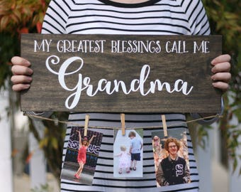 Grandparent Photo Holder / Photo Sign / Mother's Day Gift / Handpainted Wood Sign / Family Photo Display / Father's Day Gift