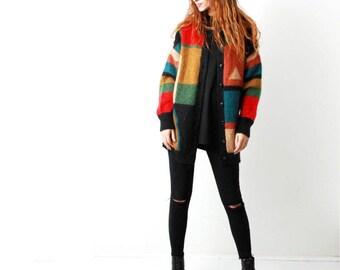 Vintage 80s Mohair Colorblock Button Down Cardigan / Long Knit Cardigan
