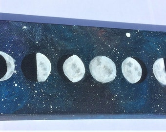 Phases of the Moon Lunar Painting 4x12