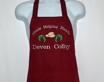 Christmas Apron, Nana Apron, Gran's Helping Hands With Cookies, Gift From Grandkids, Custom Personalize With Name, No Shipping Fee, AGFT 836