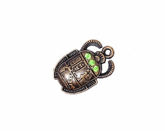 2 pcs + Amulet charm copper scarab égyptien, bug insecte pendant With Rhinestones  Metal Charms, Jewelry Making