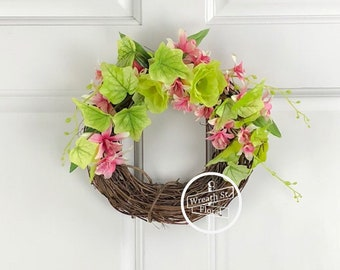 Small Wreath, 10 inch Wreath, Wall Wreath, Window Wreath, Summer Wreath, Pink Wreath, Wreath Street Floral, Spring Wreath, Grapevine Wreath