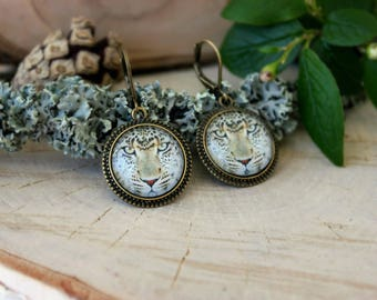 Leopard Earrings, Antique Bronze Earrings, Glass Dome Earrings, Dangle Earrings, Animal Jewelry